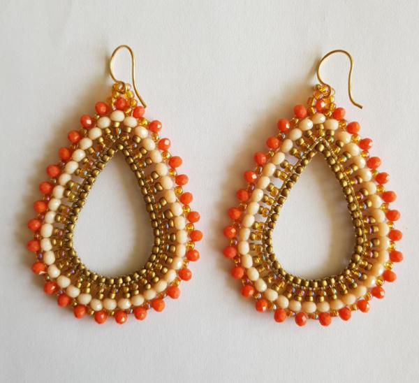 Ibiza oorhangers oranje wit